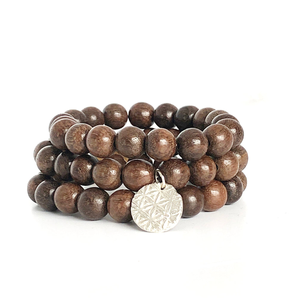 Sandalwood Wood Beaded Bracelets, Set of 3 with Charm Silver