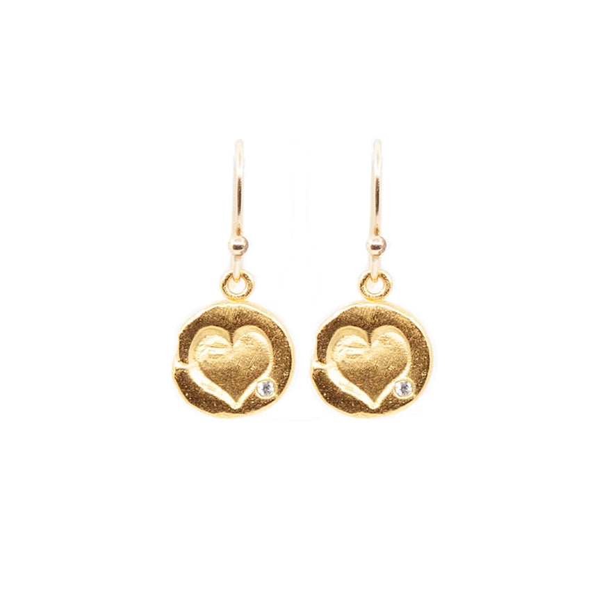 Heart Hanging Earrings Gold - MAS Designs