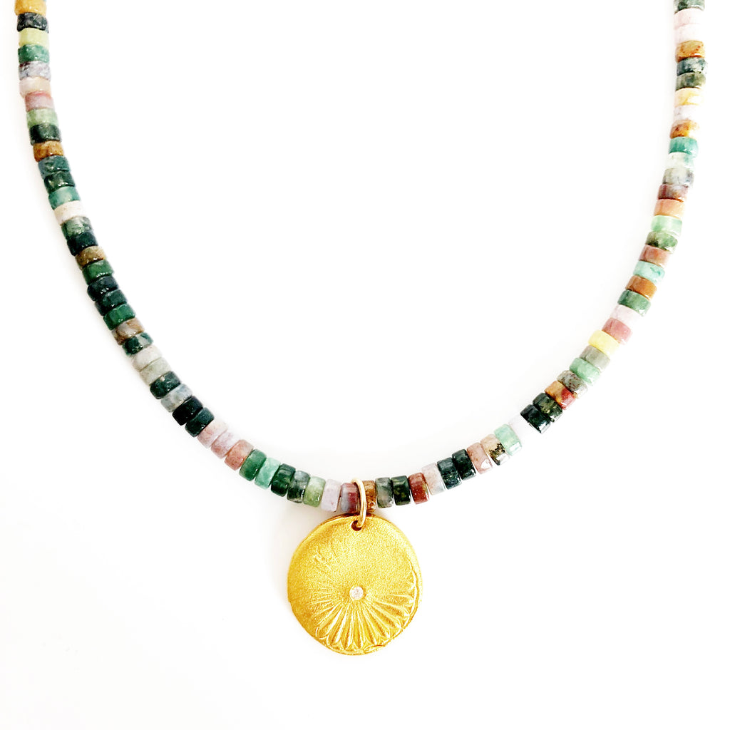 One of a Kind Sunshine Charm on Indian Agate Beaded Necklace Gold 20068