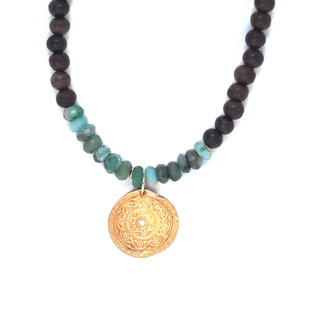 One of a Kind Amazonite Wood Gold Circles of Life Necklace 20044 - MAS Designs