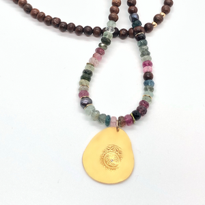 One of a Kind Tourmaline and Wood Beaded Long Necklace 20020 - MAS Designs