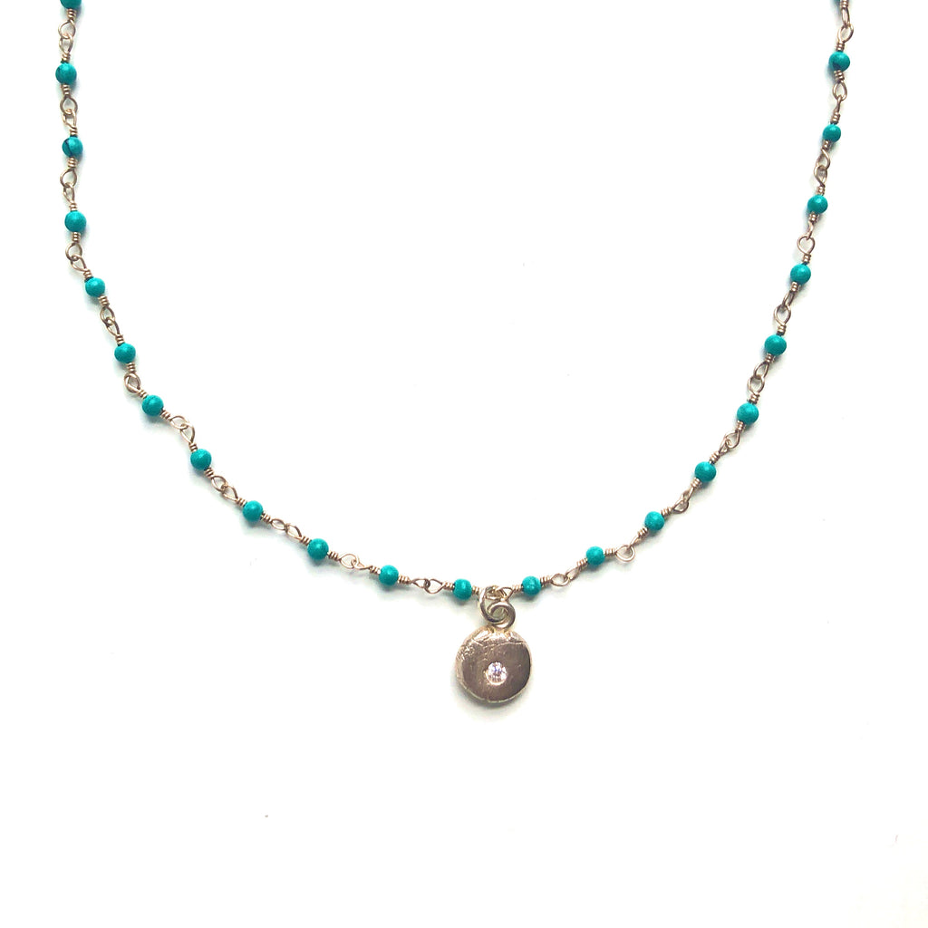 Turquoise-Bead-Chain-Little-Lights-Charm-Silver-Necklace-MAS-Designs-Jewelry