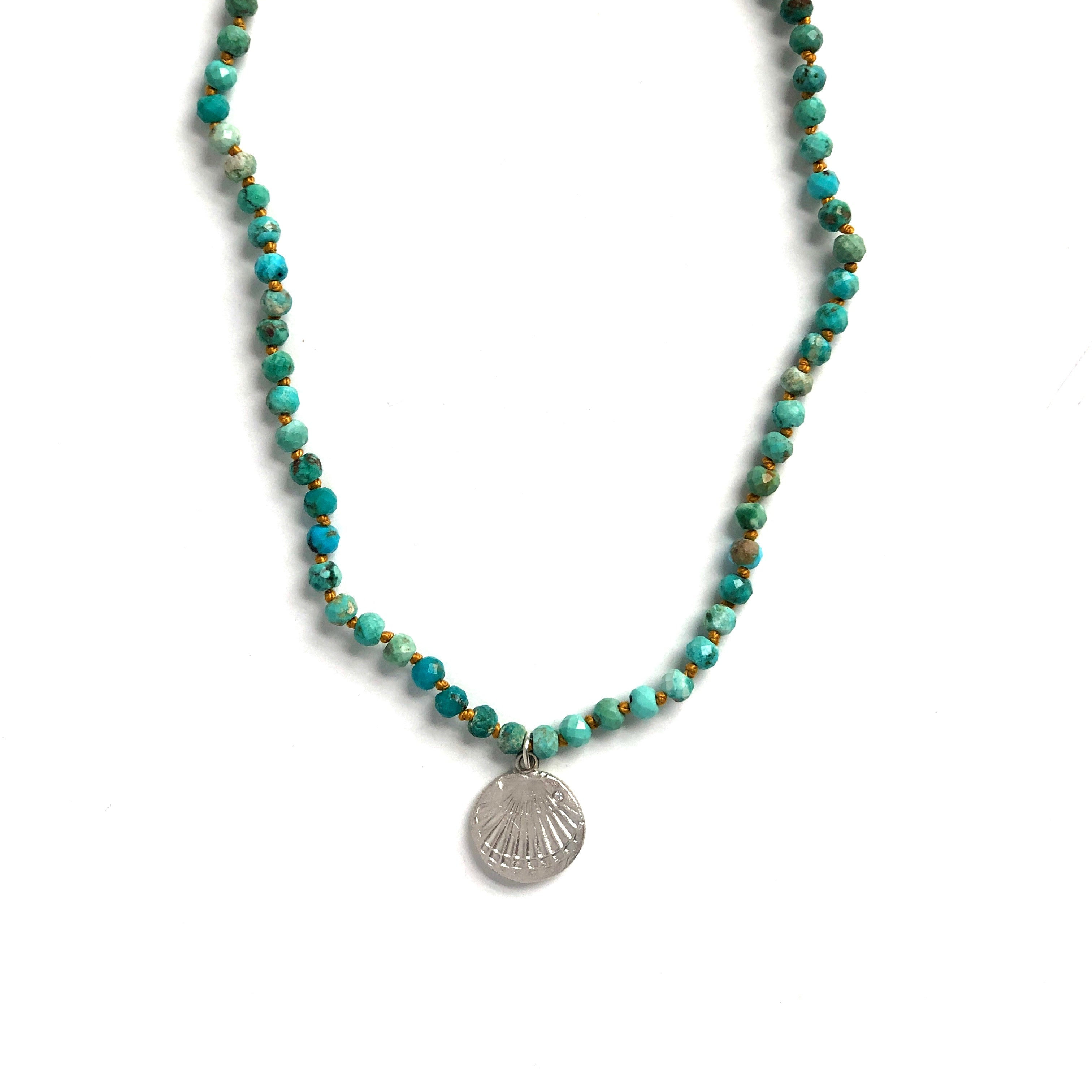 One of a Kind Turquoise Knotted Bead Necklace Shell Silver 20040 - MAS Designs