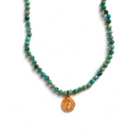 One of a Kind Turquoise Knotted Bead Necklace Wave Gold 20041 - MAS Designs