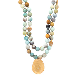 Amazonite Long Beaded Necklace Charm Gold - MAS Designs