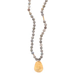 Labradorite Long Beaded Necklace Charm Gold - MAS Designs