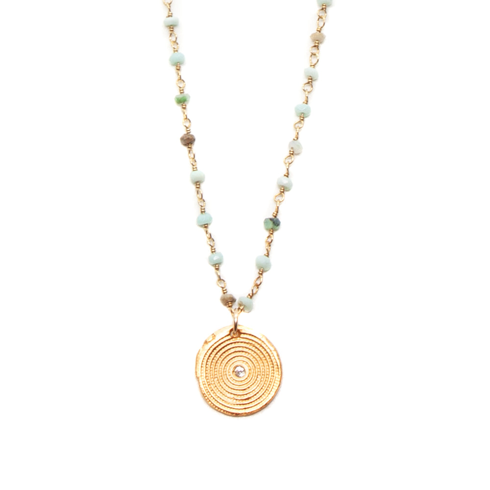 One of a Kind Peruvian Opal Small Beads Rosary Gold Zen Circles Charm Necklace 20016 - MAS Designs