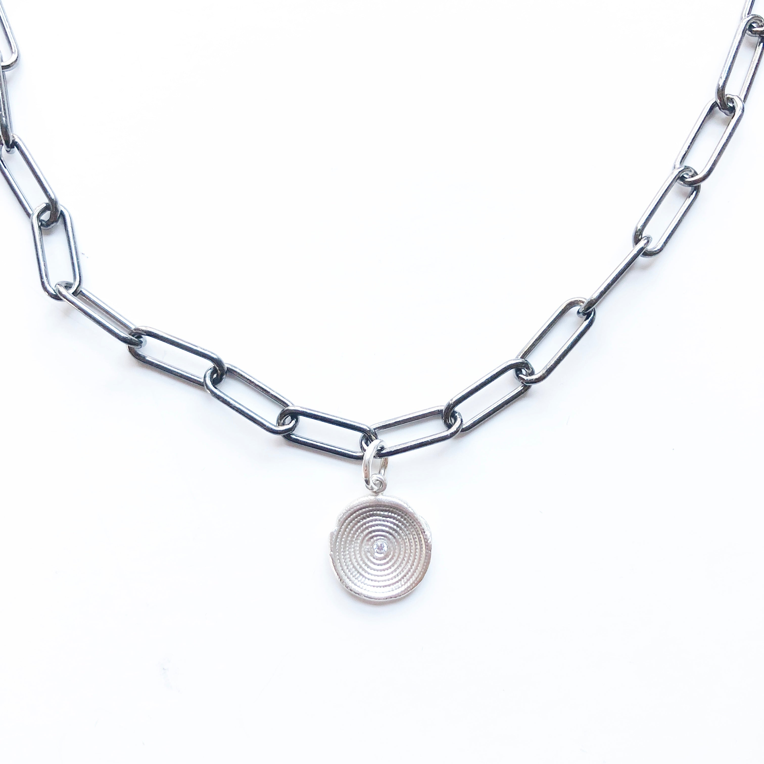 Zen-Circles-Silver-Charm-Necklace-Paper-Clip-Chain-MAS-Designs-Jewelry