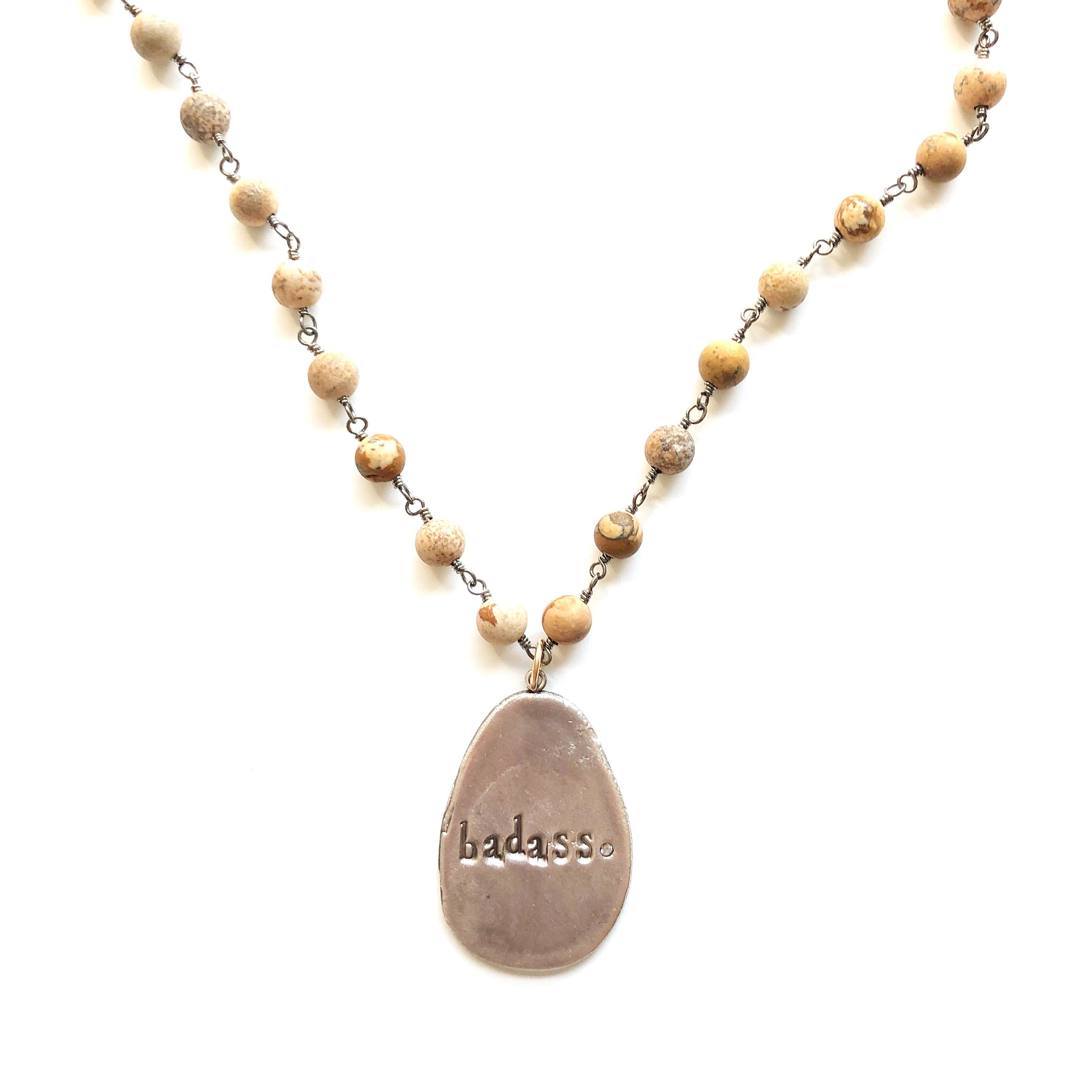 Badass Charm Necklace with Jasper Bead Chain MAS Designs Jewelry
