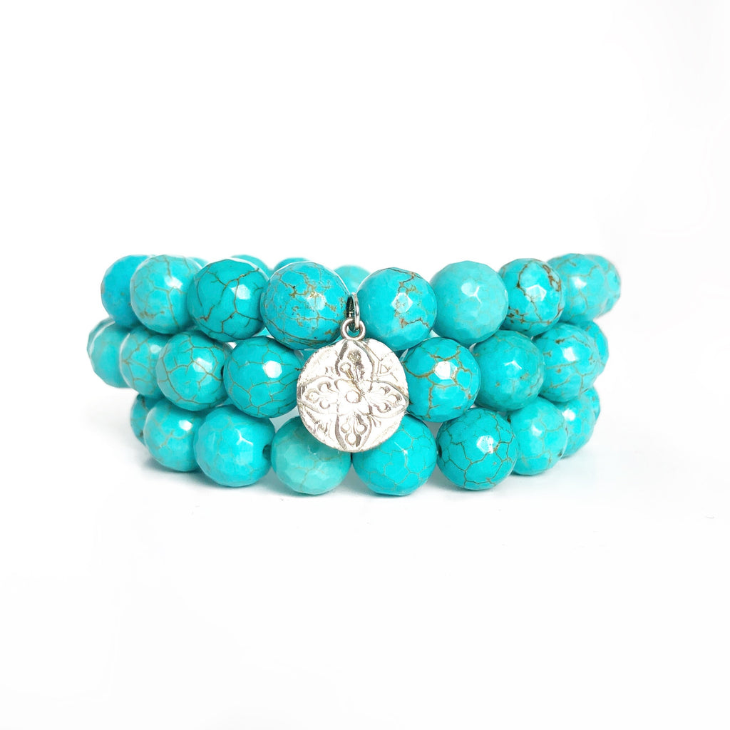 Turquoise Beaded Bracelets, Set of 3 with Charm Silver