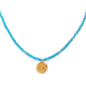 One-of-a-kind-new-beginnings-charm-on-apatite-bead-necklace-MAS-Designs-Jewelr