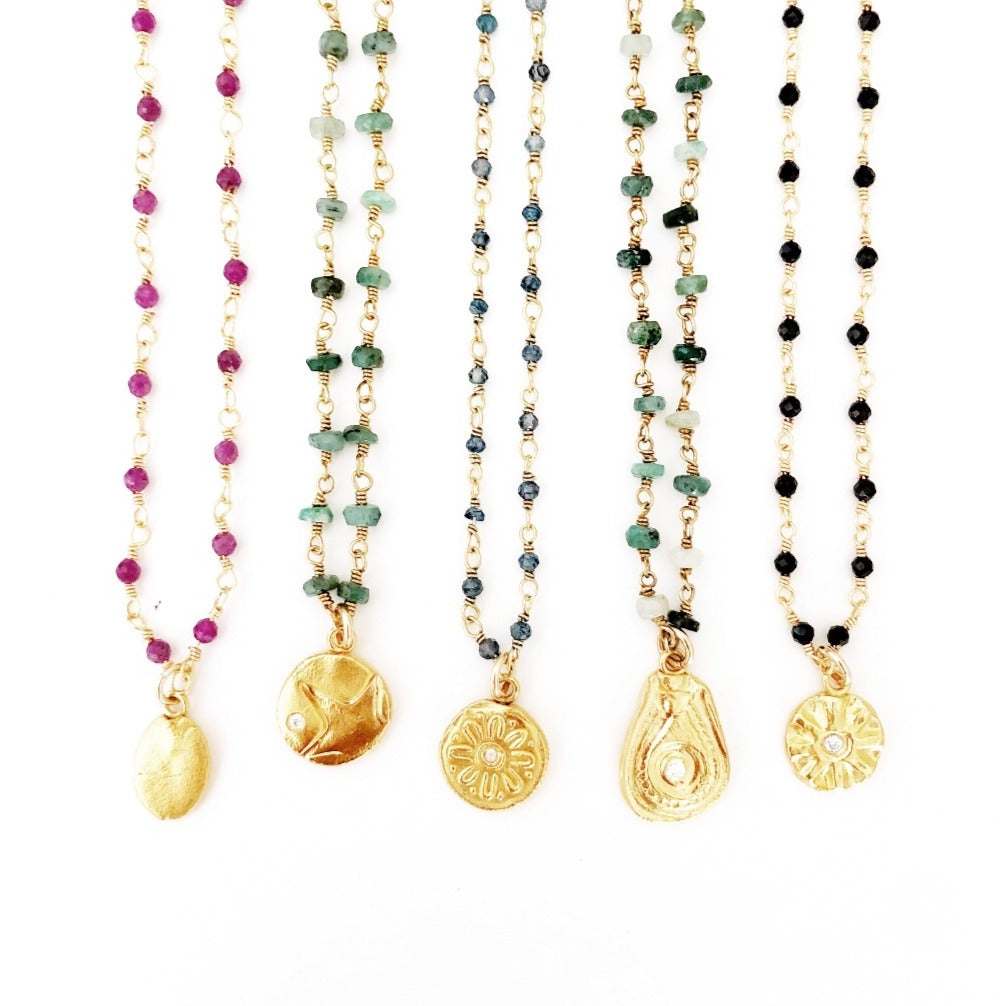 Rosary Chain Necklaces with Gold Charms MAS Designs Jewelry