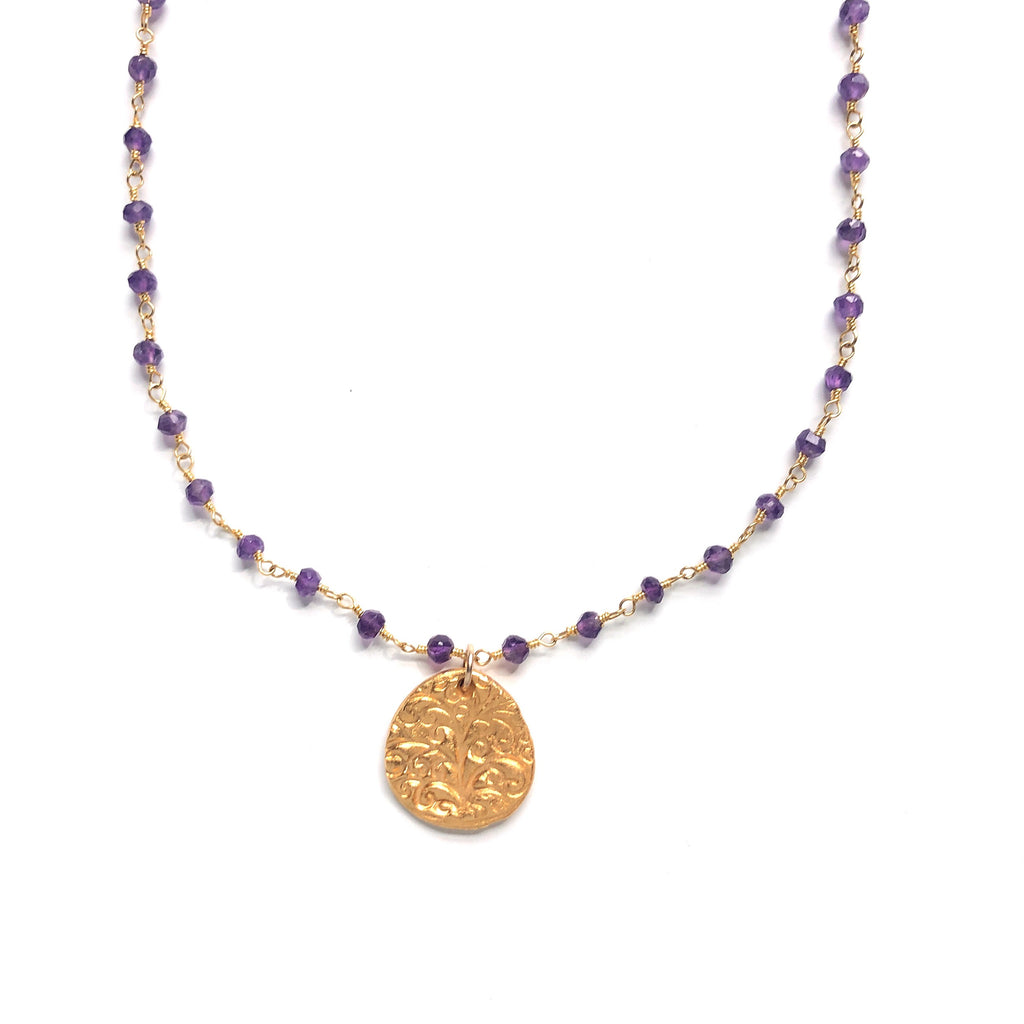 One of a Kind Amethyst Chain with Tree of Life Gold Charm 20050 - MAS Designs