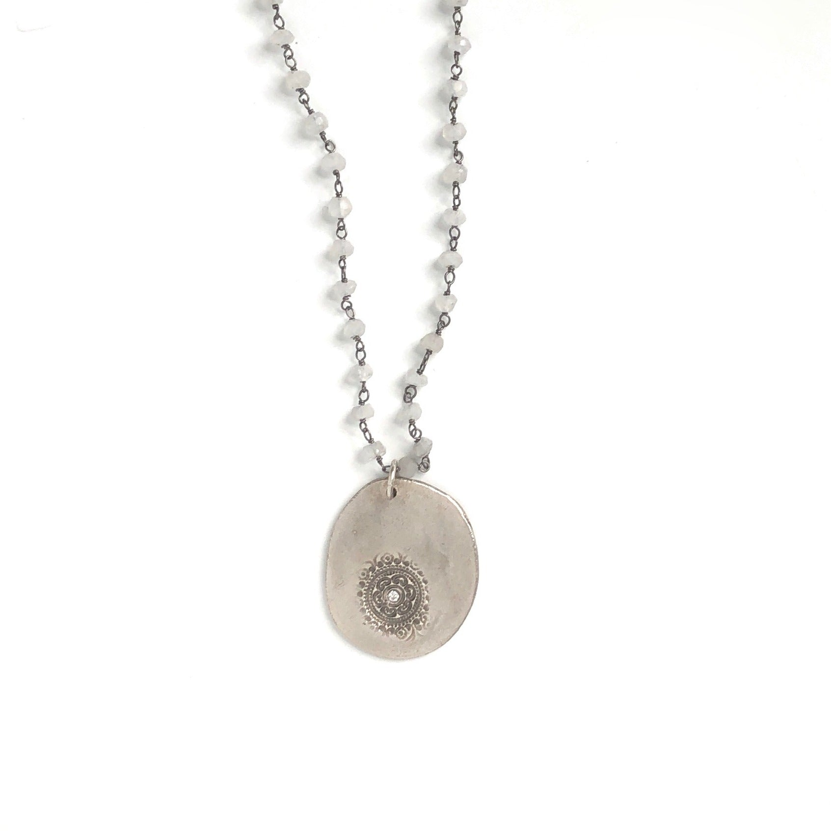 One of a Kind Moonstone Chain Necklace with Silver Circles of Life Charm Necklace 20051 - MAS Designs