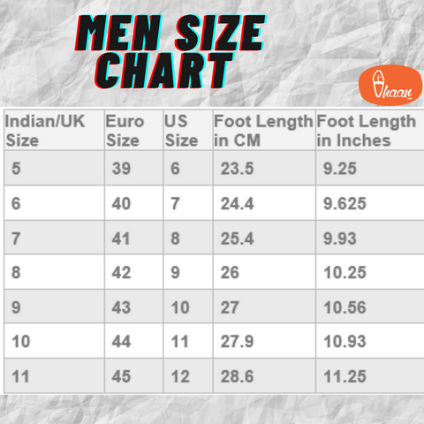Measure footwear size for kolhapuri chappal