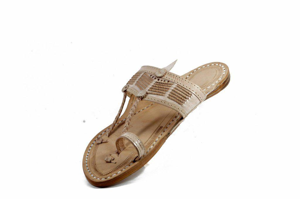 white Color   Senapati  Shape Handmade Kolhapuri chappal for  Men
