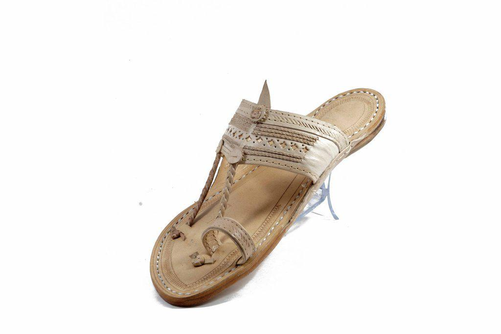 Specially handcrafted Ethnic craft Purely Crafted  in Best Quality Leather In   white Color   Senapati  Shape Handmade  5 Veni Punching Braids embedded in the detailed crafting on the belt with handstiched leather Kolhapuri chappal for  Men