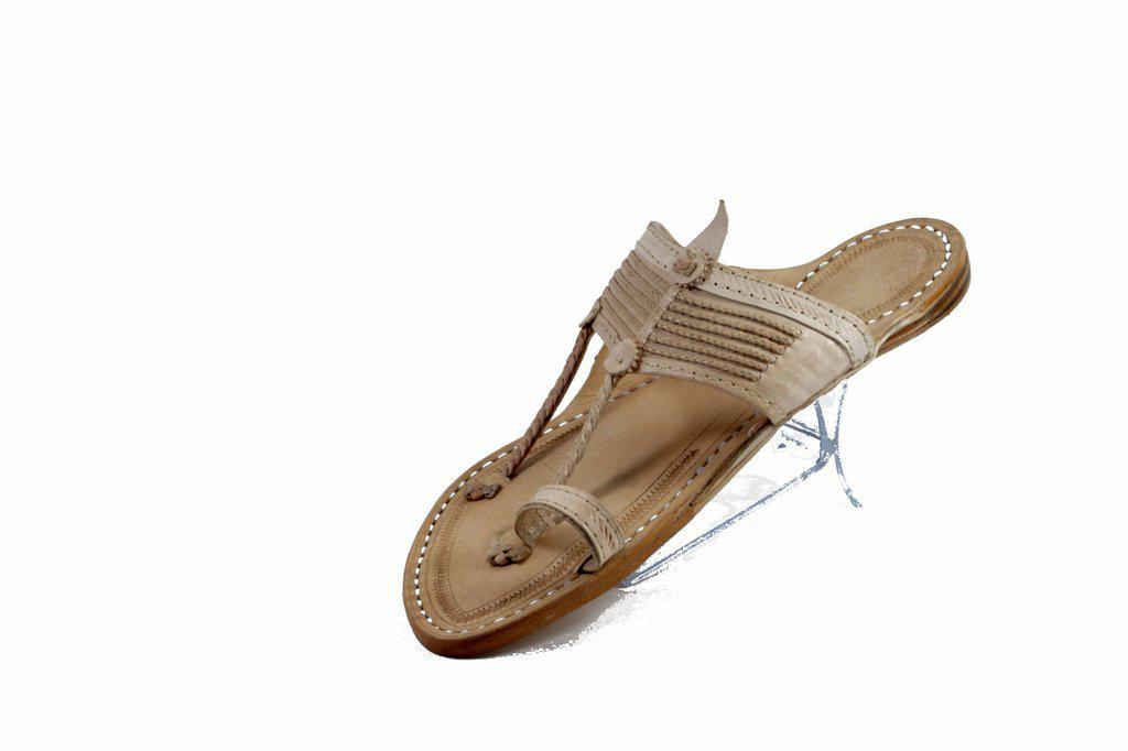 Specially handcrafted Ethnic craft Purely Crafted  in Best Quality Leather In   white Color   Senapati  Shape Handmade  5 Braids leather braid embedded in the detailed crafting on the belt with hand stitched leather Kolhapuri chappal for  Men