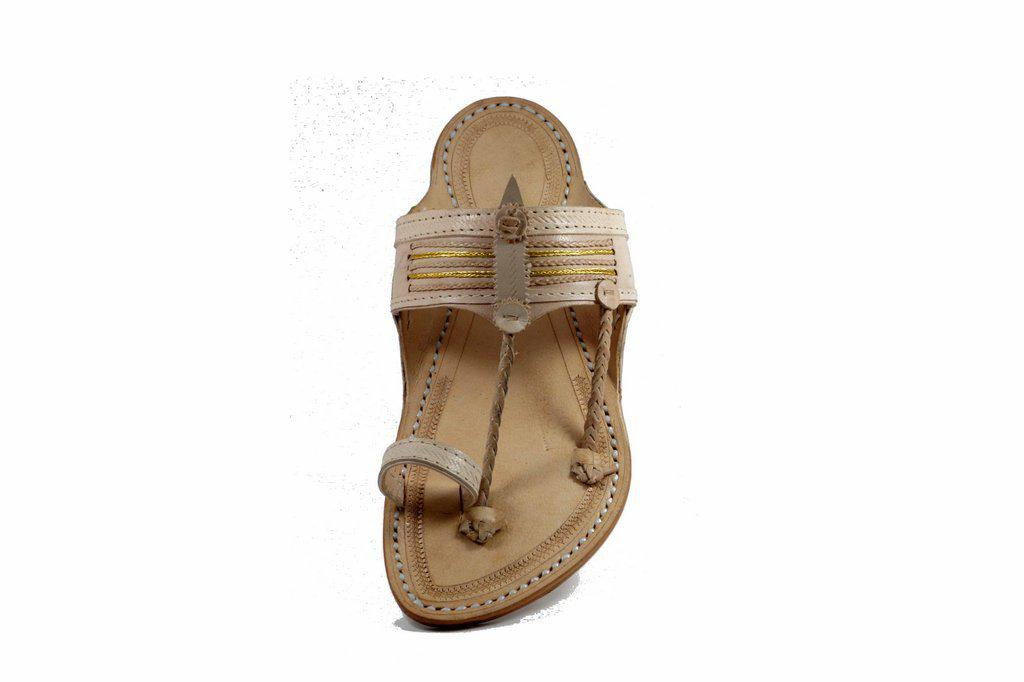 white Color Senapati Shape Handmade golden jari Braid belt leather Kolhapuri chappal for Men