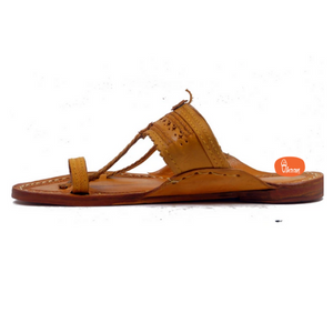 Yellow Color  detailed punching Kolhapuri chappal for Men with Wire Stitching