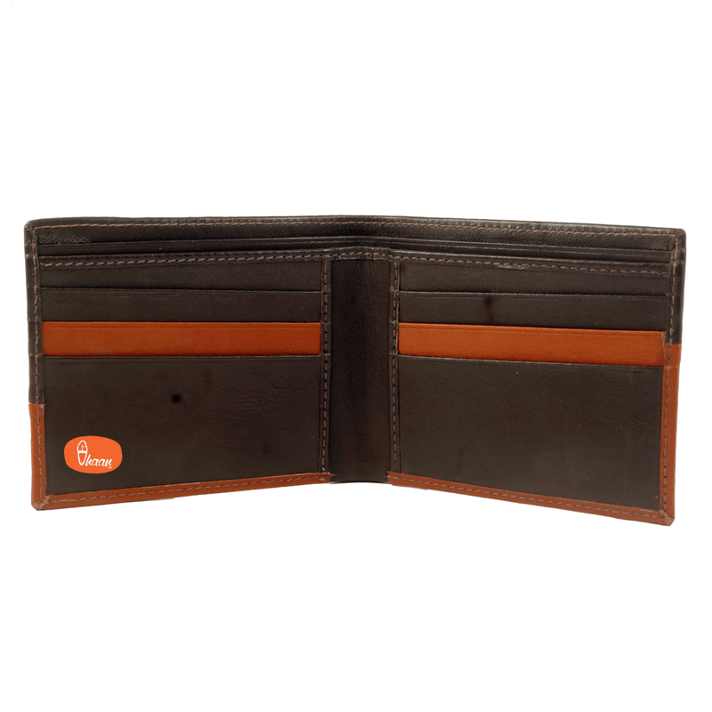 Dual Color (Brown & Tan) Classic Bi-Fold leather wallet by vhaan