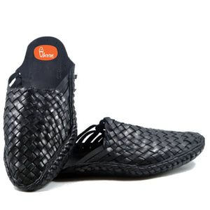 Black Color Handstitched Half Net Sleep on kolhapuri chappal for men-vhaanfootwear-6-vhaanfootwear