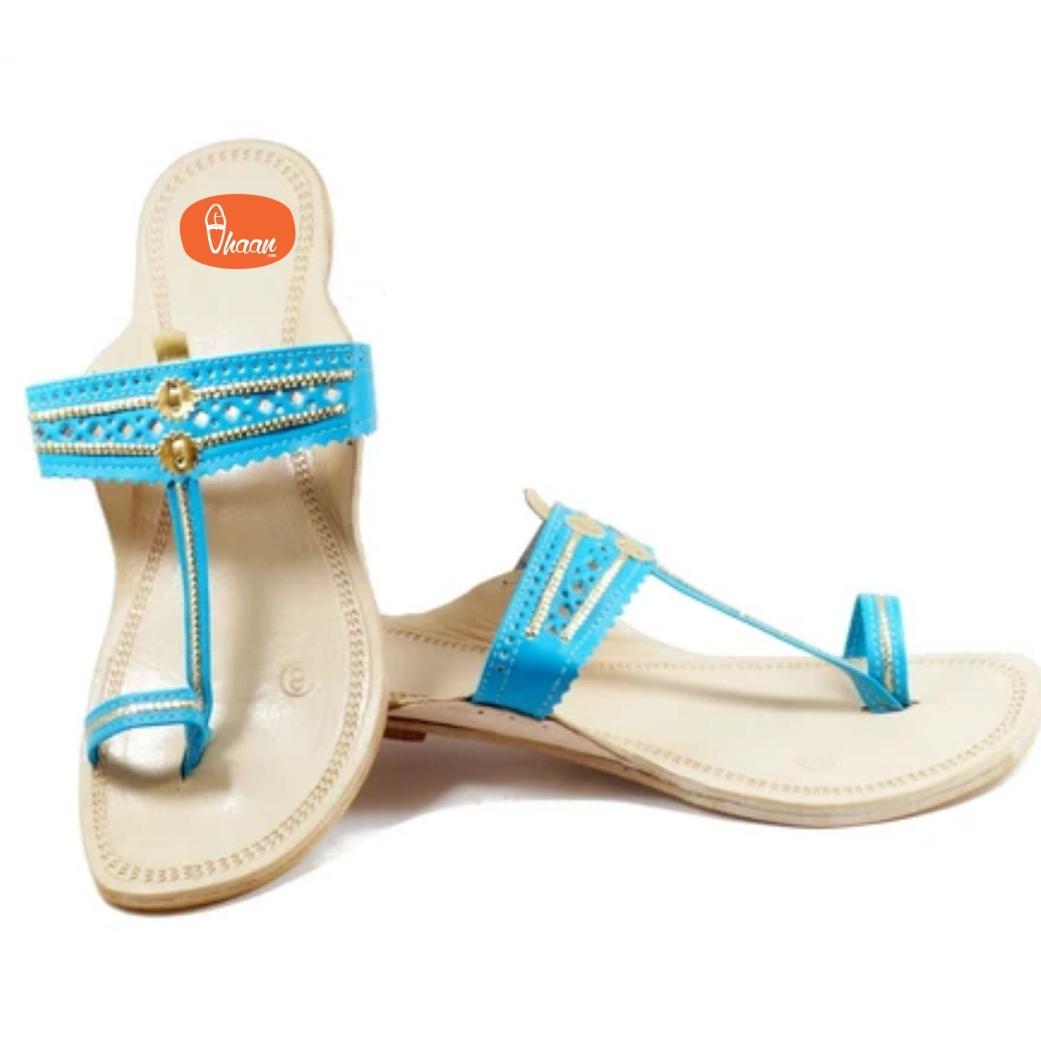 Sky Blue Color Ladies Kolhapuri chappal made in Highest Quality leather