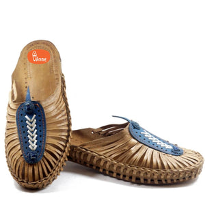 Handmade Ladies Slip On Blue Color-vhaanfootwear-4-vhaanfootwear