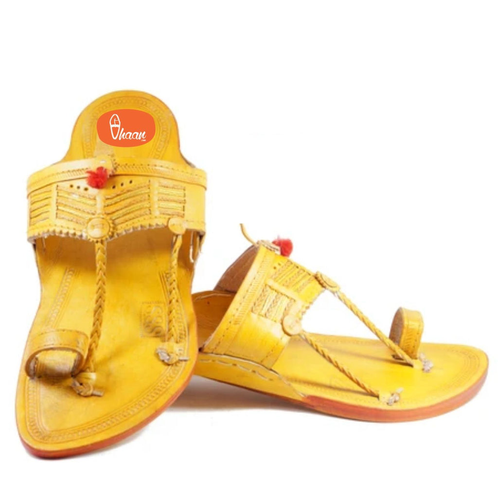 Yellow Color Red Gonda with Veni Belt(Patta) with detailed punching  Kolhapuri chappal for  Men