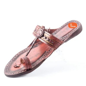 Handcrafted, Pointed, Jari Belt(Patta) Kolhapuri Chappal for Women in Red with Detailed Punching