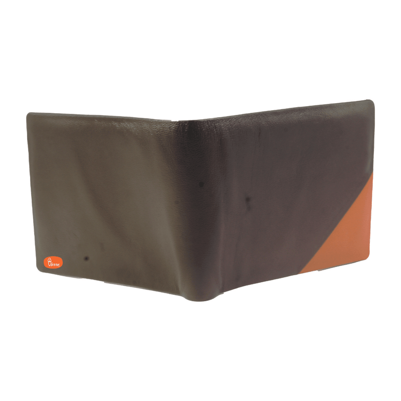 Duel Color (Brown & Orange) Bifold Pure Leather wallet by Vhaan
