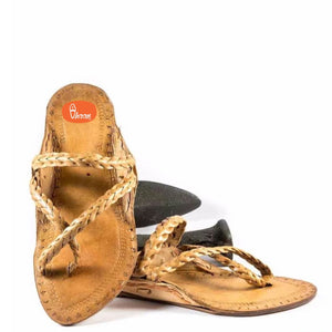 Khas Cross Belt Handmade Gandhi Design Ladies Kolhapuri Chappal