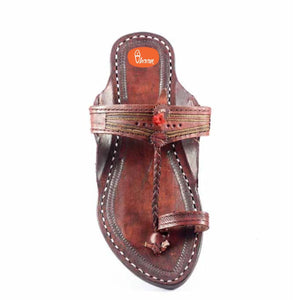 Special Red(Dark Brown) Color Pure leather made kolhapuri for women