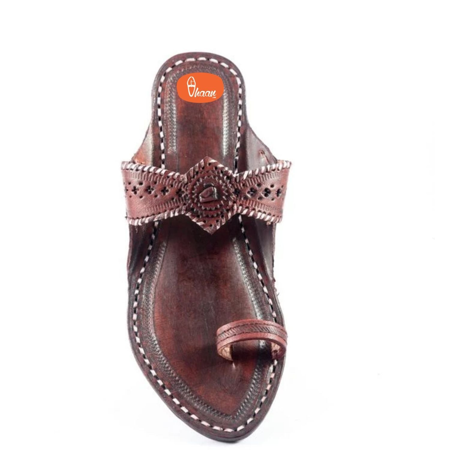 Special Red(Dark Brown) Color Pure leather made kolhapuri for women without wadi