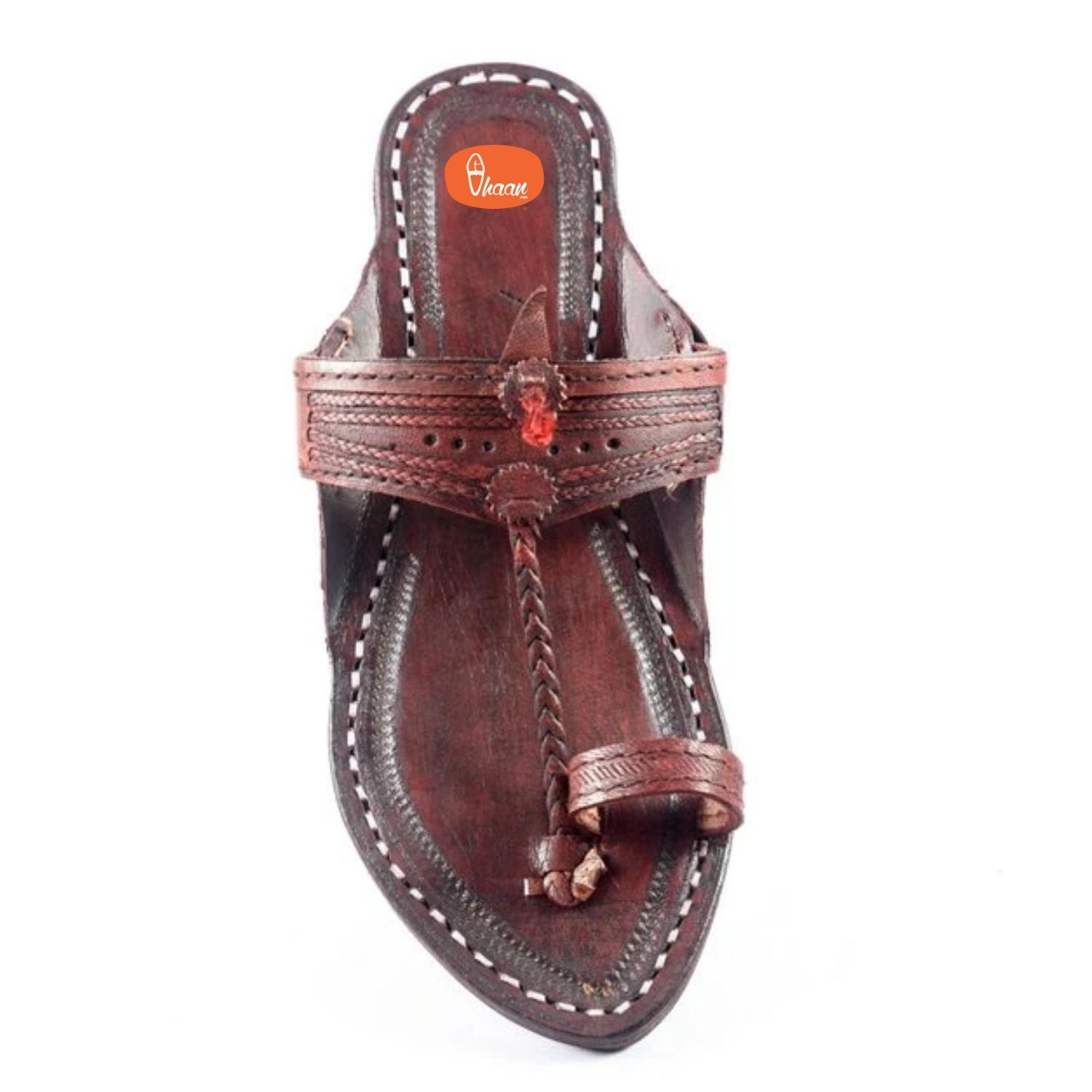 Red Color Pointed Shape Red Gonda Veni Belt with punching Kolhapuri chappal for women