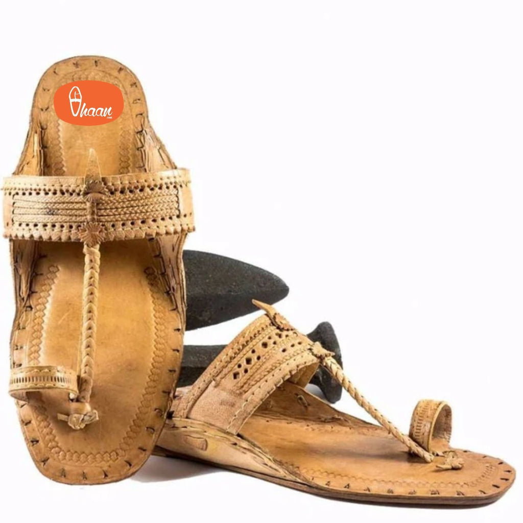 Moja Shape Pure Leather Handcrafted Kolhapuri Chappal For Ladies
