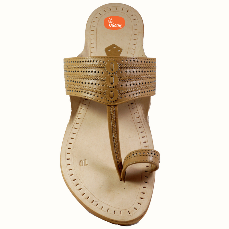 Cream Color Kolhapuri Chappal For Men