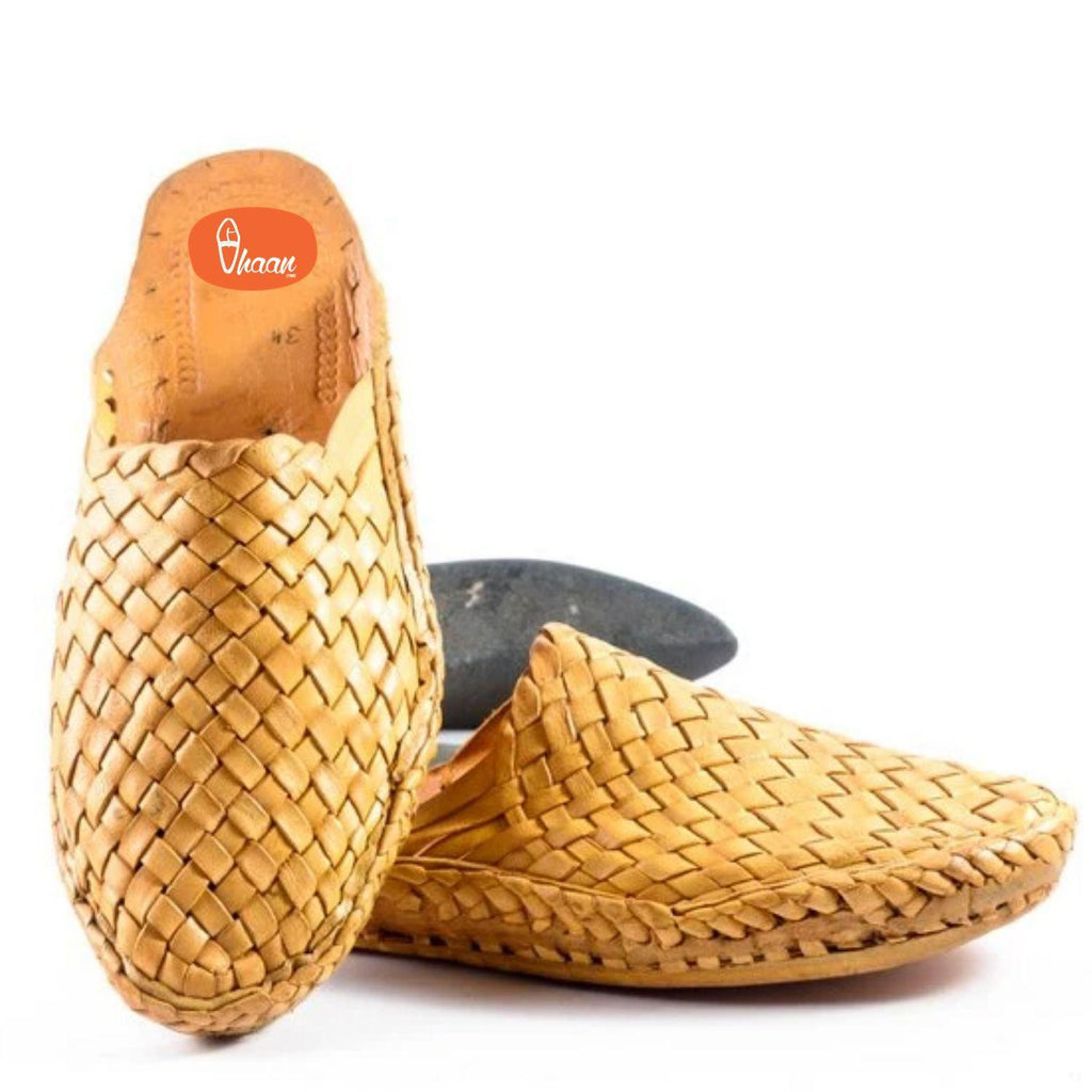 handmade pure leather ethnic design slip on Handstiched net design for men