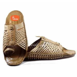 Special Moja(T) Shape 24 Bandi Handmade Knots Tied  Based Broad Kolahpuri Chappal For Men