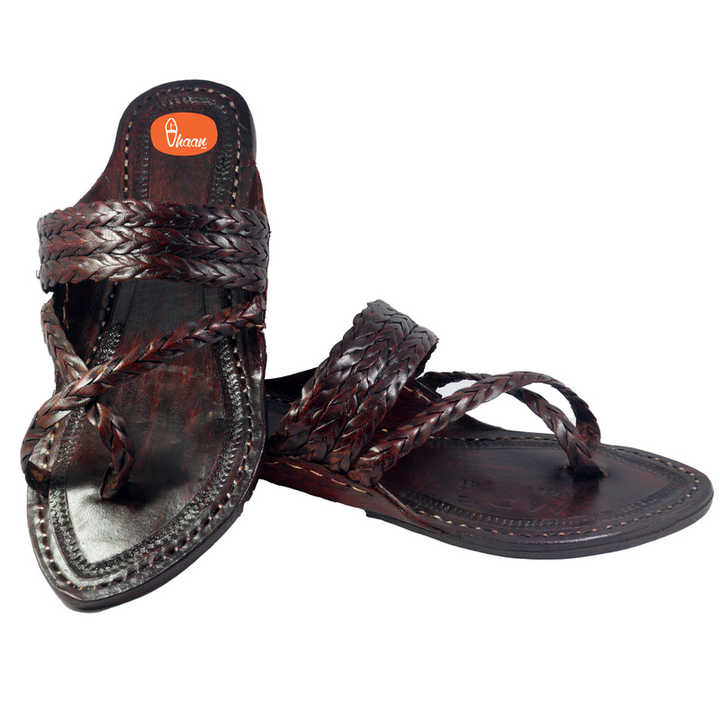 Dark Brown Special Cross Belt Kolhapuri Chappal For Men
