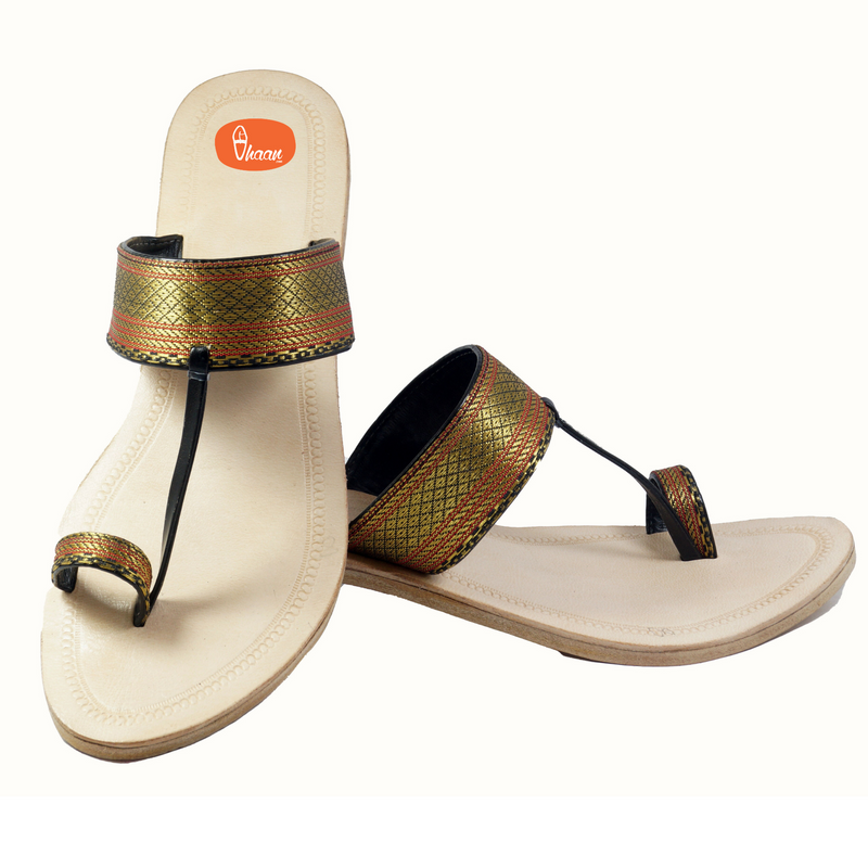 Golden Black Paithani Kolhapuri Chappal For Ladies