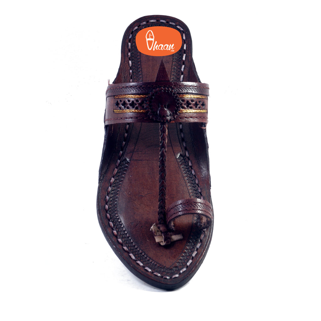 Golden Weni  Dark Brown Ladies Kolhapuri Chappal