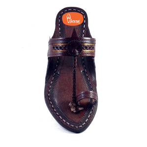 Golden Weni Dark Brown Ladies Kolhapuri Chappal-vhaanfootwear-7-vhaanfootwear