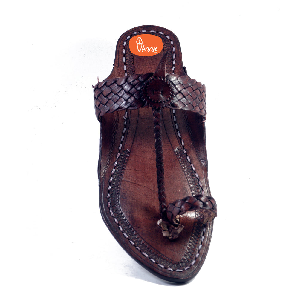 Net Belt Dark Brown Ladies Kolhapuri Chappal