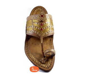 3 Tali Broad Belt Senapati Kapashi Kolhapuri Chappal for Men (Made in Special Jari Weavs)