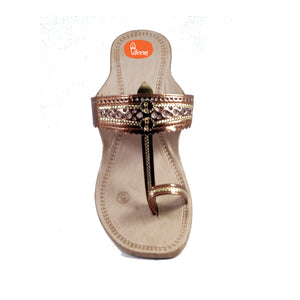 Copper Color Ladies Kolhapuri chappal with Hill