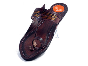 Golden Weni Red Gonda Dark Brown Ladies Kolhapuri Chappal
