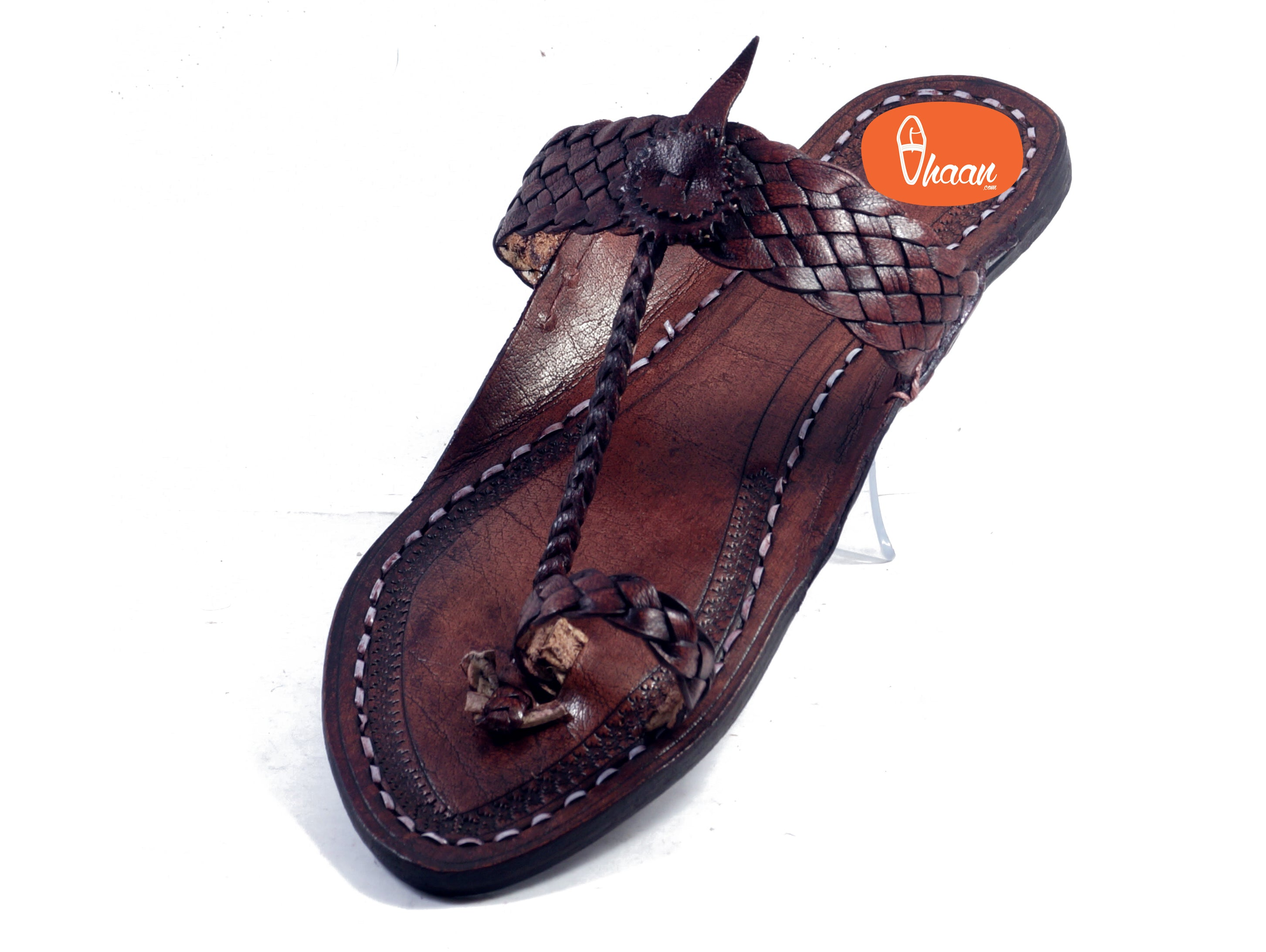 Net Belt Dark Brown Ladies Kolhapuri Chappal-vhaanfootwear-7-vhaanfootwear