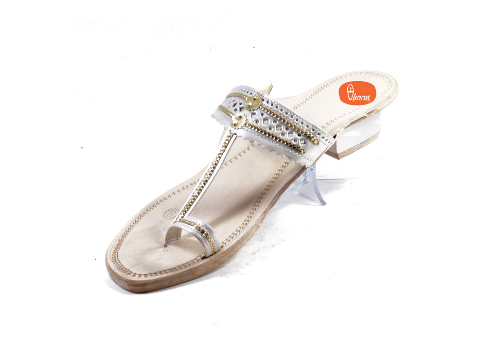 White Color Ladies Kolhapuri chappal in Hills