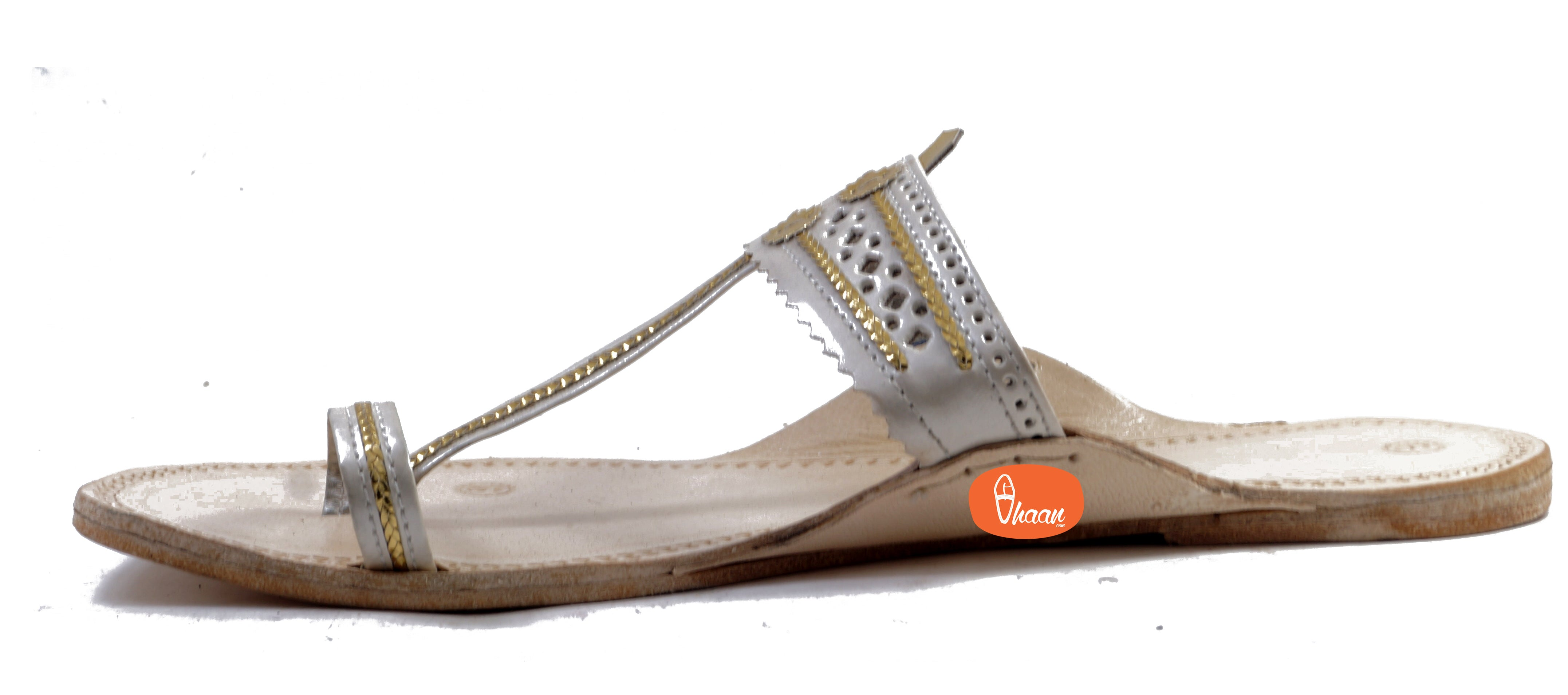 White Color Ladies Kolhapuri chappal in Hills-vhaanfootwear-6-vhaanfootwear